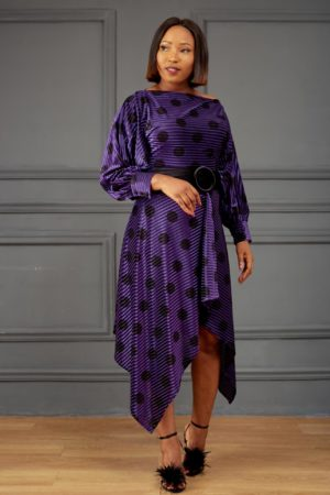 VELVET SPOTTY ASYMMETRIC DRESS - PURPLE