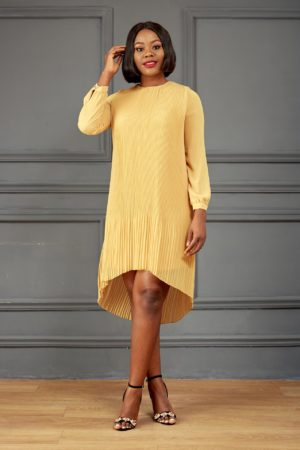 PLEATED TUNIC - MUSTARD