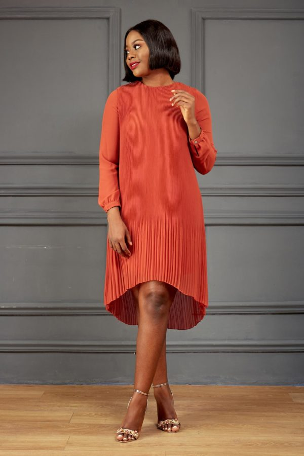 PLEATED TUNIC - ORANGE