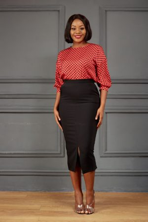 KOTON CORAL & BLACK SPOTTY BLOUSE