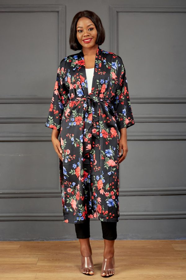 BLACK & RED FLORAL BELTED KIMONO