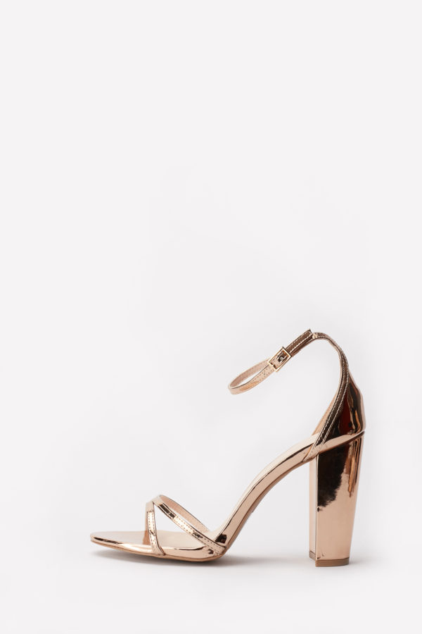 CASHMERE BLOCK HEEL SANDALS - ROSE GOLD