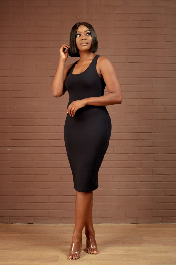 PLAIN RACER BACK BODYCON DRESS - BLACK