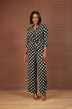 BLACK & WHITE SPOTTY JUMPSUIT