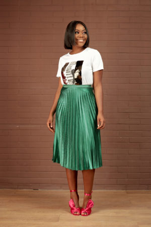 KOTON GREEN SILK PLEATED SKIRT