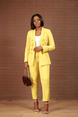 MUSTARD DOUBLE BREAST SUIT SET