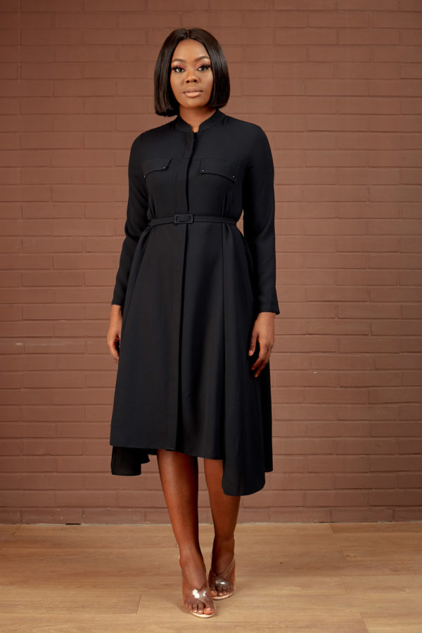 DOUBLE POCKET SHIRT DRESS - BLACK