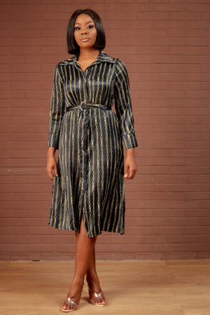 HOT CHAIN PRINT SHIRT DRESS - BLACK & YELLOW