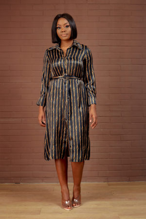 HOT CHAIN PRINT SHIRT DRESS - BLACK & GOLD