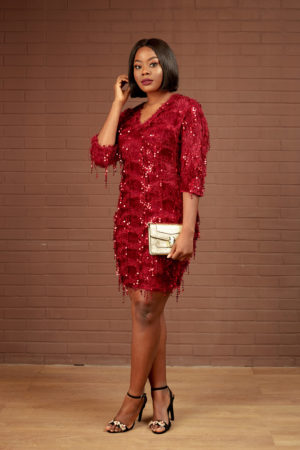BURGUNDY FRINGY SEQUIN TUNIC