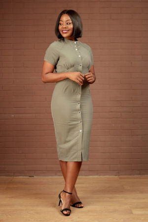 SILVER BUTTON DETAILED DRESS - KHAKI