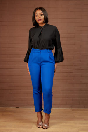 KOTON BUTTON DETAIL CROP PANT - COBALT BLUE