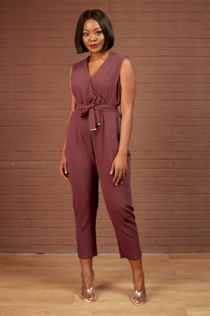 DP PLUM SLEEVELESS BELTED JUMPSUIT