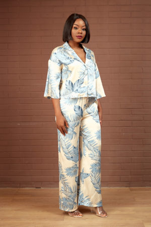 KOTON CREAM & MARL BLUE LEAF PRINT SUIT SET