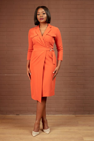 RUST WRAP DOUBLE POCKET DRESS