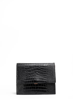 BLACK CROC FLAP BAG