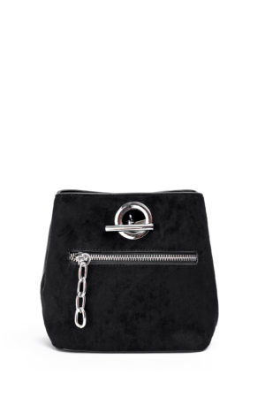 BLACK LEATHER + NUBUCK MINI CHAIN BUCKET BAG