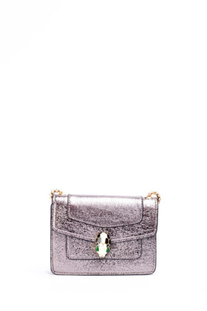 SHIMMER SNAKE HEAD MINI CHAIN BAG - PEWTER
