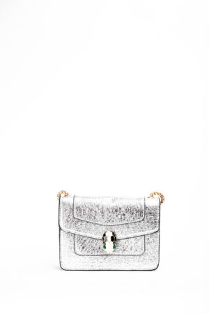 SHIMMER SNAKE HEAD MINI CHAIN BAG - SILVER