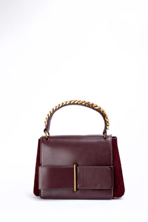 FRONT BOW LEATHER + CHAIN HANDLE BAG - MAROON