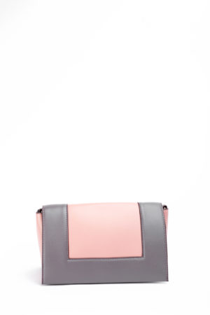 COLOR BLOCK FAT STRAP BAG - PINK & GREY