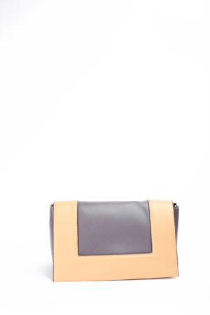 COLOR BLOCK FAT STRAP BAG - NUDE & GREY
