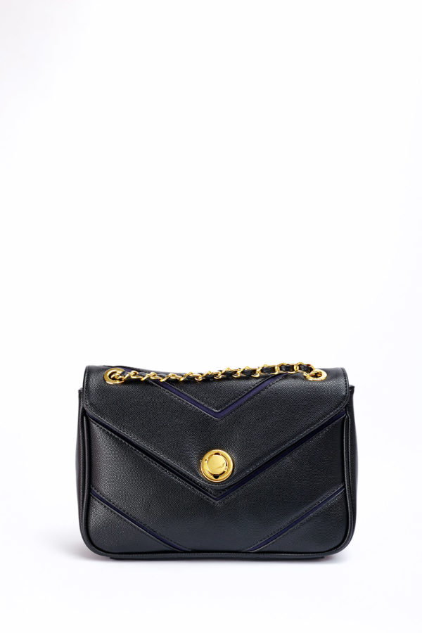 CROC GOLD LOCK CHAIN BAG - BLACK