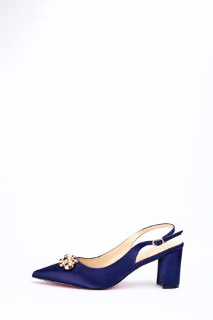 (2 FOR 17K)WAGCHIC GOLD DETAIL BLOCK HEEL - NAVY