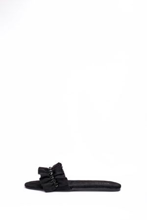 (2 FOR 17K)WAGCHIC RUFFLE SLIPPERS - BLACK