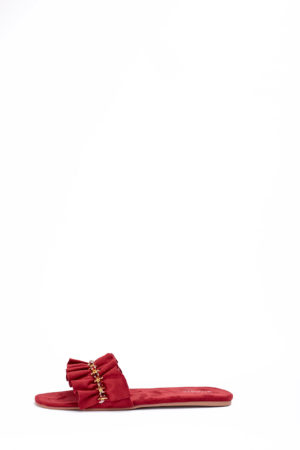 (2 FOR 17K)WAGCHIC RUFFLE SLIPPERS - PLUM