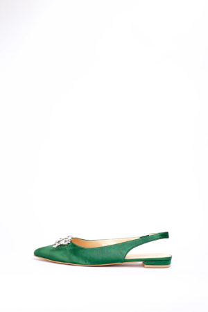 (2 FOR 17K) (2 FOR 17K)WAGCHIC EMBELLISHED SLING BACK FLATS - GREEN