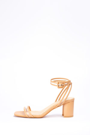 2 FOR 17K)WAGCHIC PERSPEX LEATHER MIDI HEEL - BLUSH