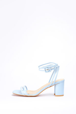 (2 FOR 17K)WAGCHIC PERSPEX LEATHER MIDI HEEL - PALE BLUE