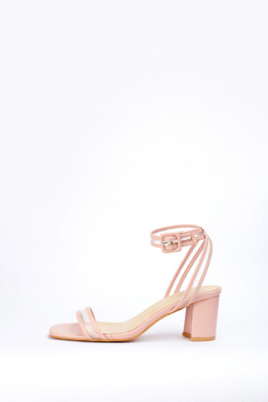 (2 FOR 17K)WAGCHIC PERSPEX LEATHER MIDI HEEL - NUDE