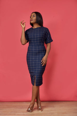 GRID PRINT FRONT SPLIT PENCIL DRESS - NAVY