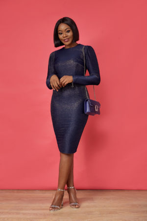 STRUCTURED BACK CUT OUT DRESS - BLUE