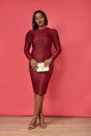 STRUCTURED BACK CUT OUT DRESS - BURGUNDY
