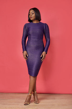 STRUCTURED BACK CUT OUT DRESS - PURPLE