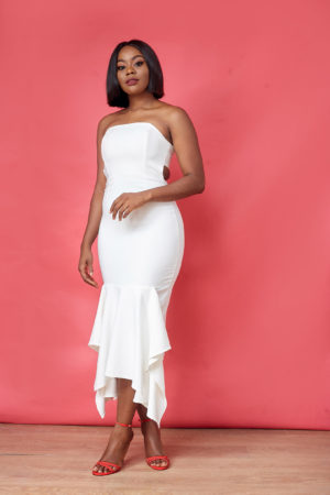 IVORY TUBE CUT OUT DRESS