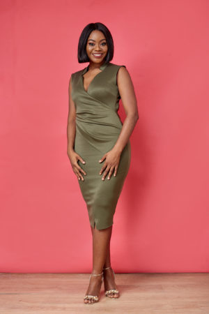 KHAKI SCUBA BACK CUT OUT DRESS