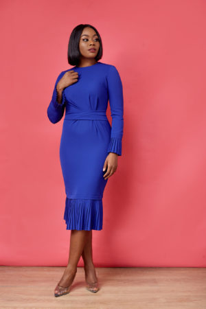 HANNAH PLEATED SLEEVE & HEM FRONT DETAIL DRESS - COBALT