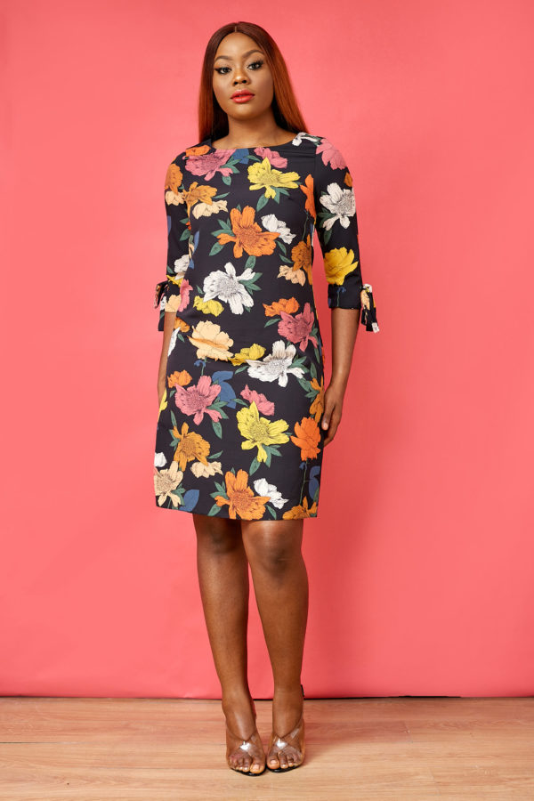 FLORAL PRINT FRONT TIE SLEEVE TUNIC