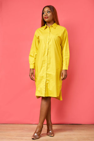 ROUCHED BACK SHIRT DRESS - MUSTARD