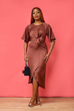 KOTON SILK CHOCOLATE FRONT TIE MIDI DRESS