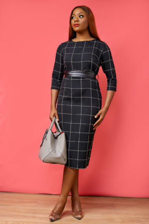 GRID PRINT PENCIL DRESS