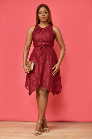 BURGUNDY SHIMMER ASYMMETRIC SKATER DRESS