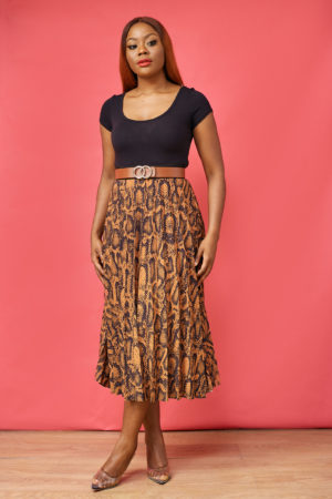 CAMEL & BLACK SNAKEPRINT PLEATED SKIRT