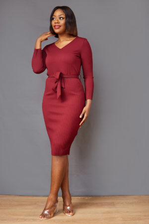 MAROON RIB BONE BODYCON DRESS