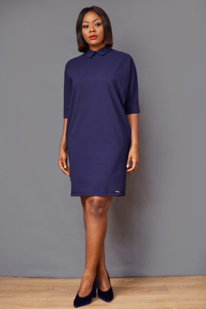 AR PETERPAN BACK BUTTON DETAIL TUNIC - NAVY
