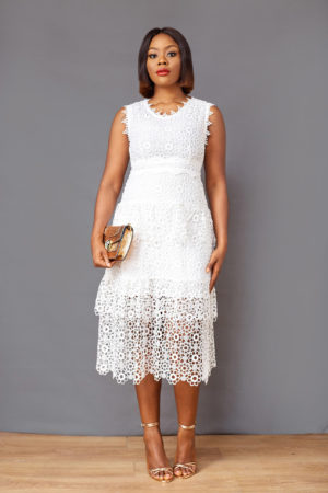 GUIPURE LAYERED DRESS - WHITE